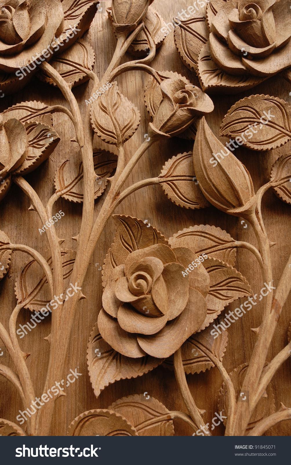 Rose Flower Thai Style Teak Wood Stock Photo 91845071