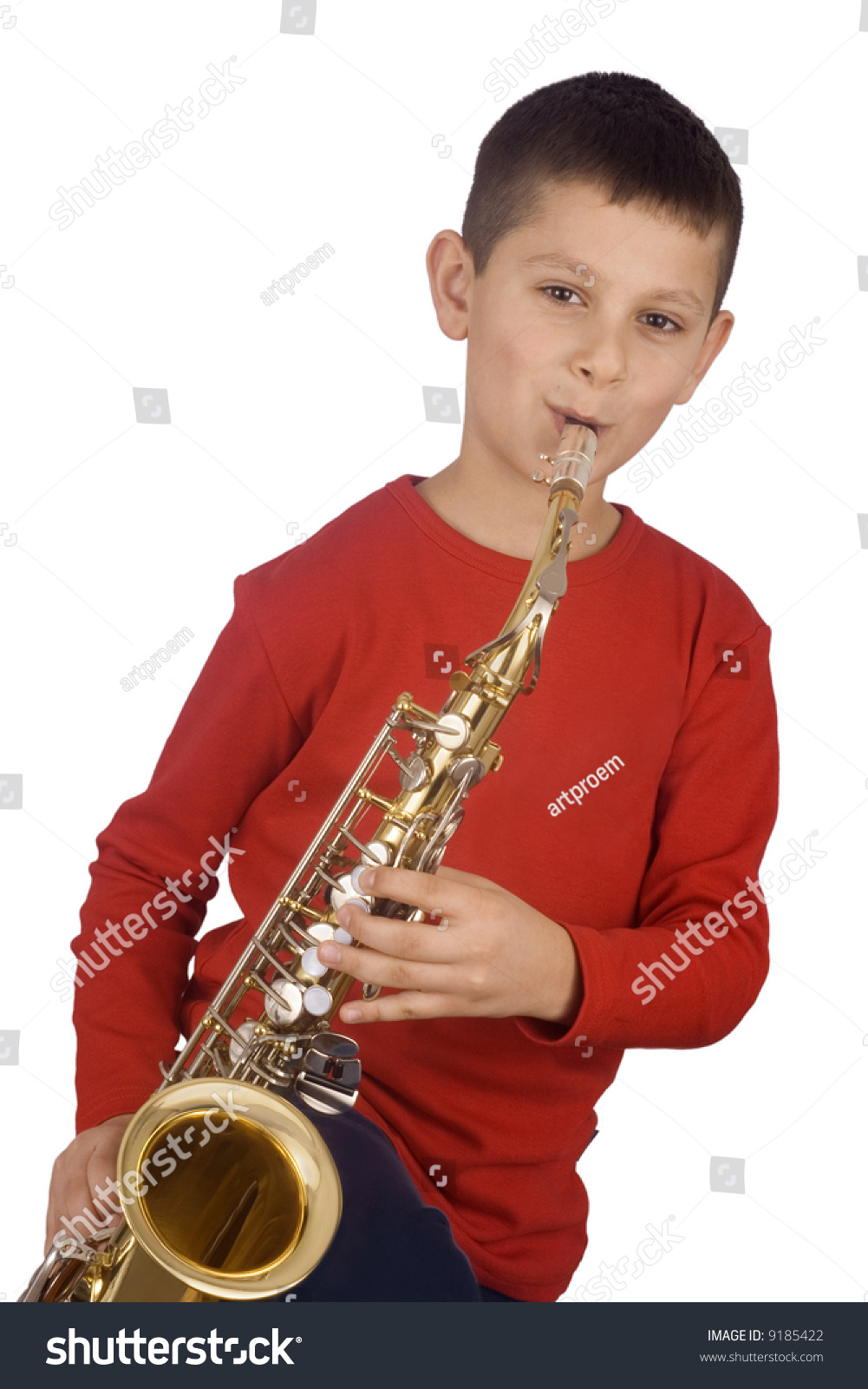 Young Boy Playing Sax Stock Photo 9185422 - Shutterstock-8134