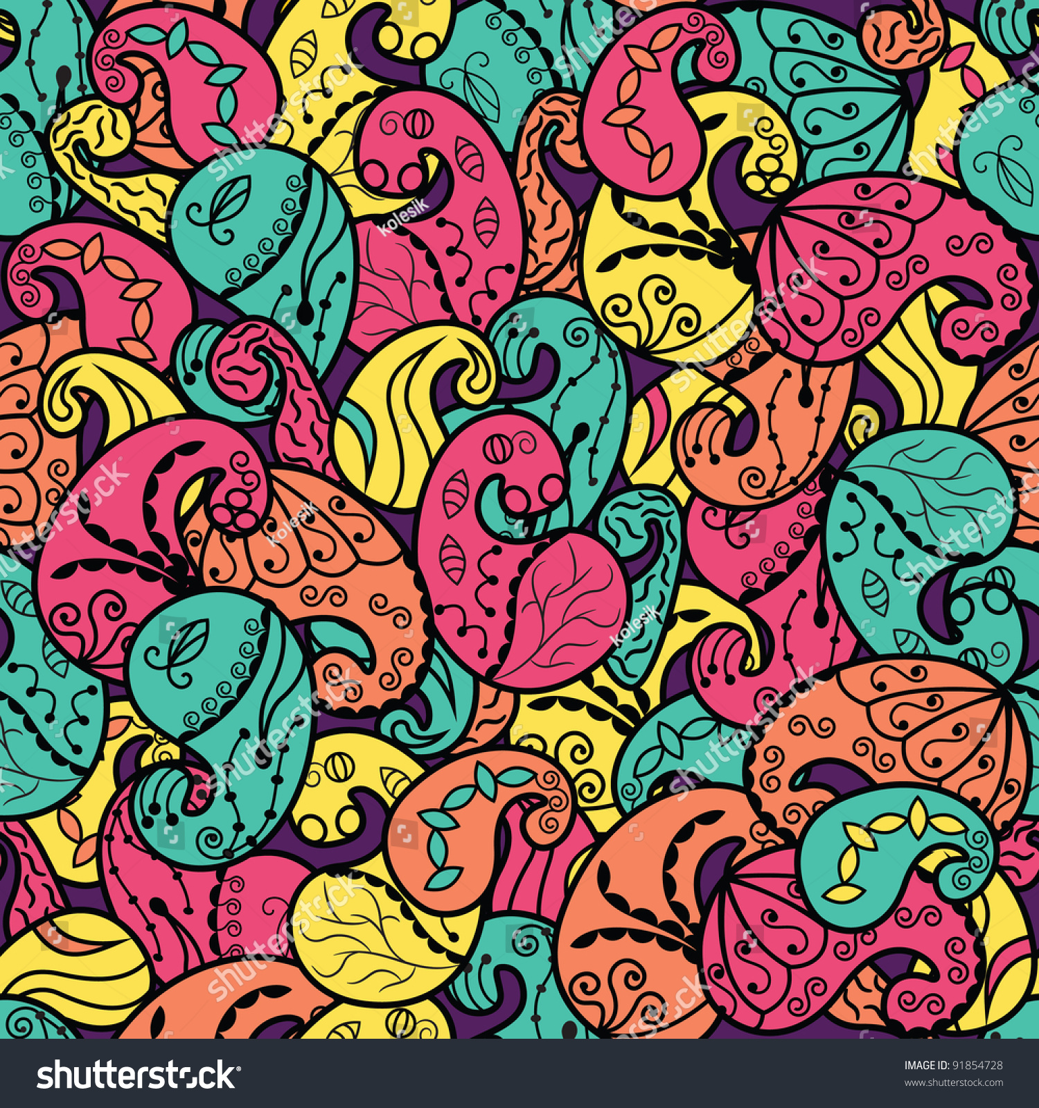 Abstract Wallpaper With Bright Paisley Stock Vector
