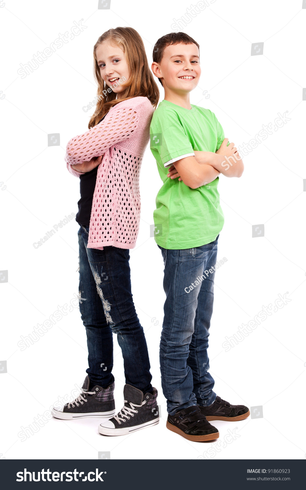 Two Children Standing Back Back Stock Photo 91860923 ...