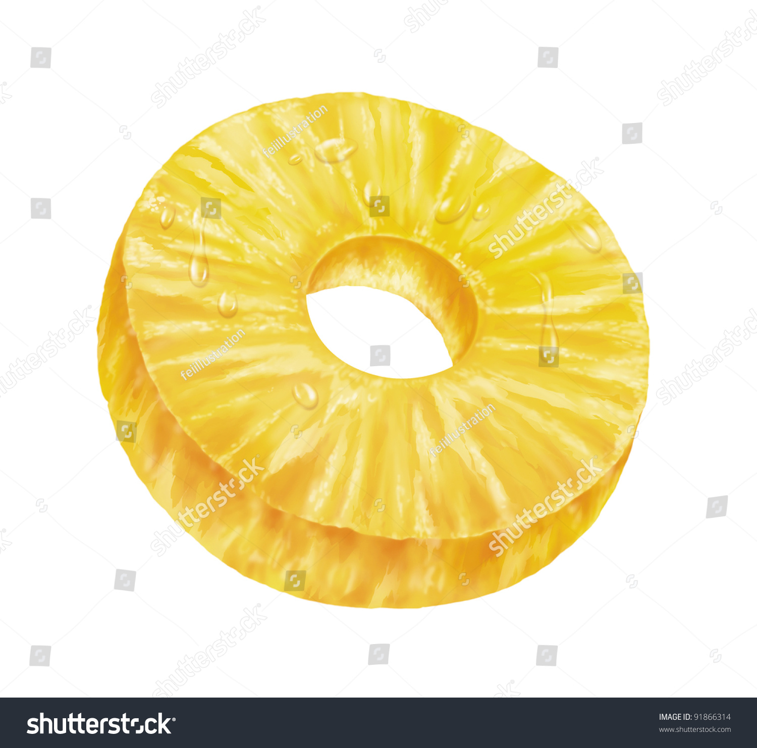 Juicy Fresh Slice Of Pineapple With White Background Stock ...