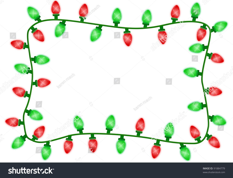 Red Green Christmas Lights Border Isolated Stock Illustration ...