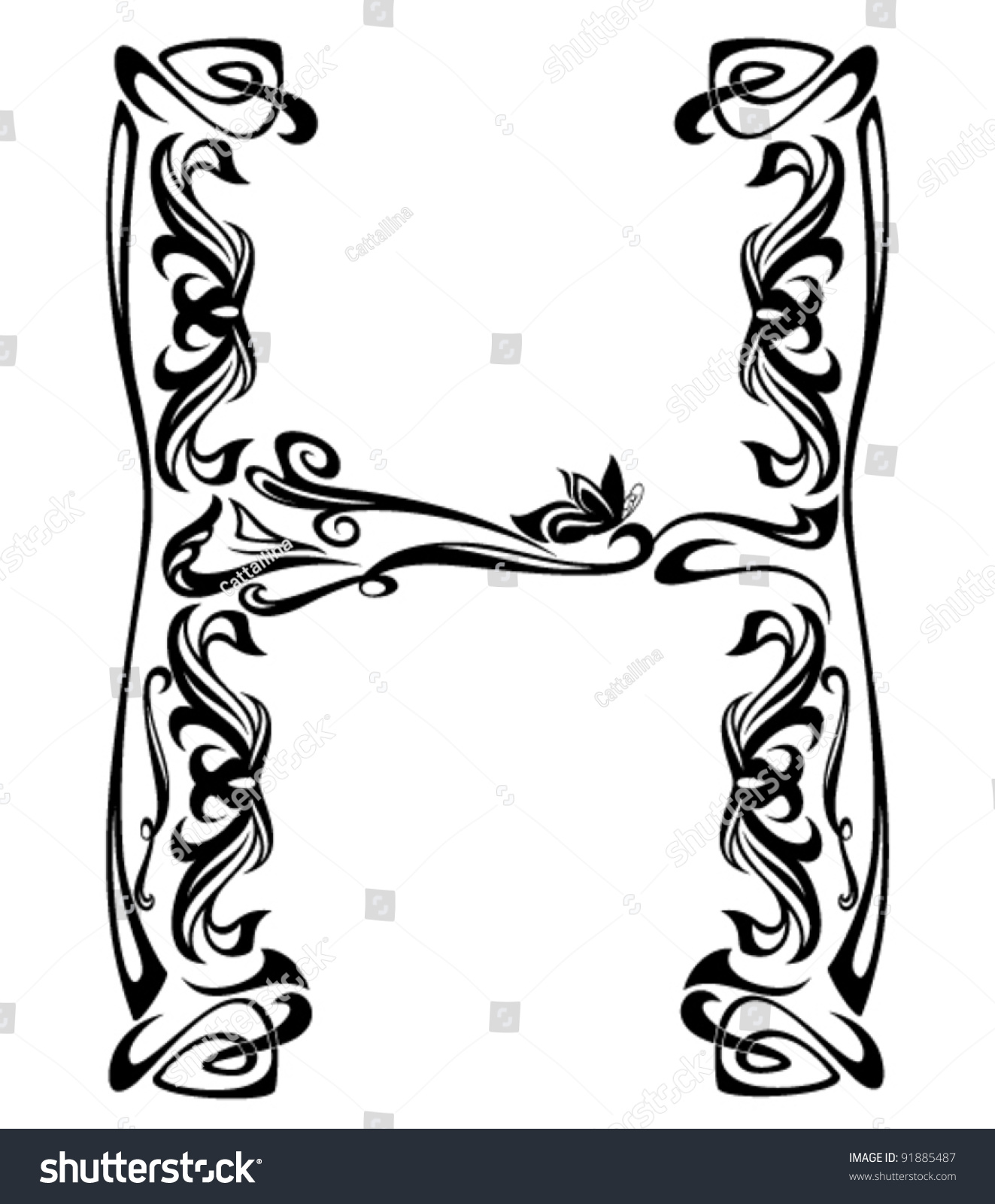 Art nouveau style vintage font letter stock vector for Decor outline