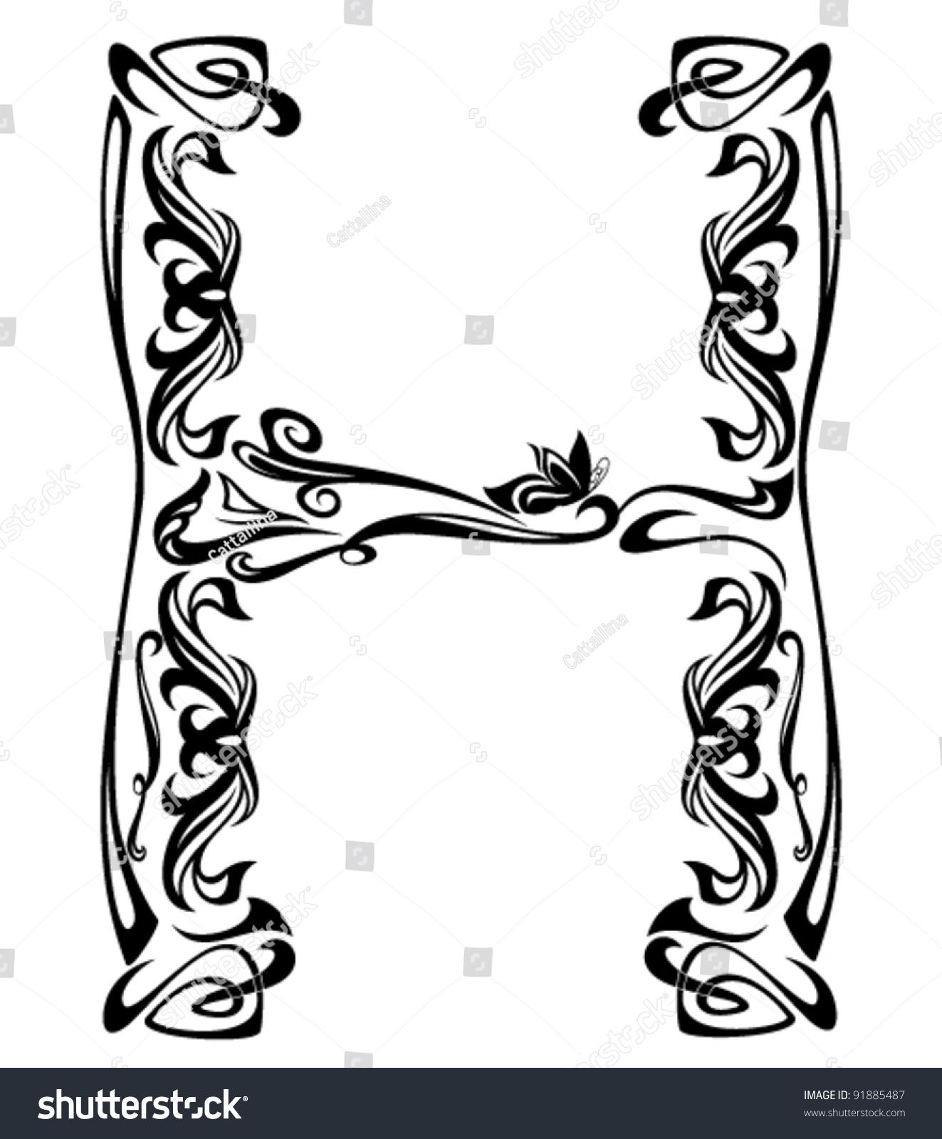 Art Nouveau Style Vintage Font Letter Stock Vector