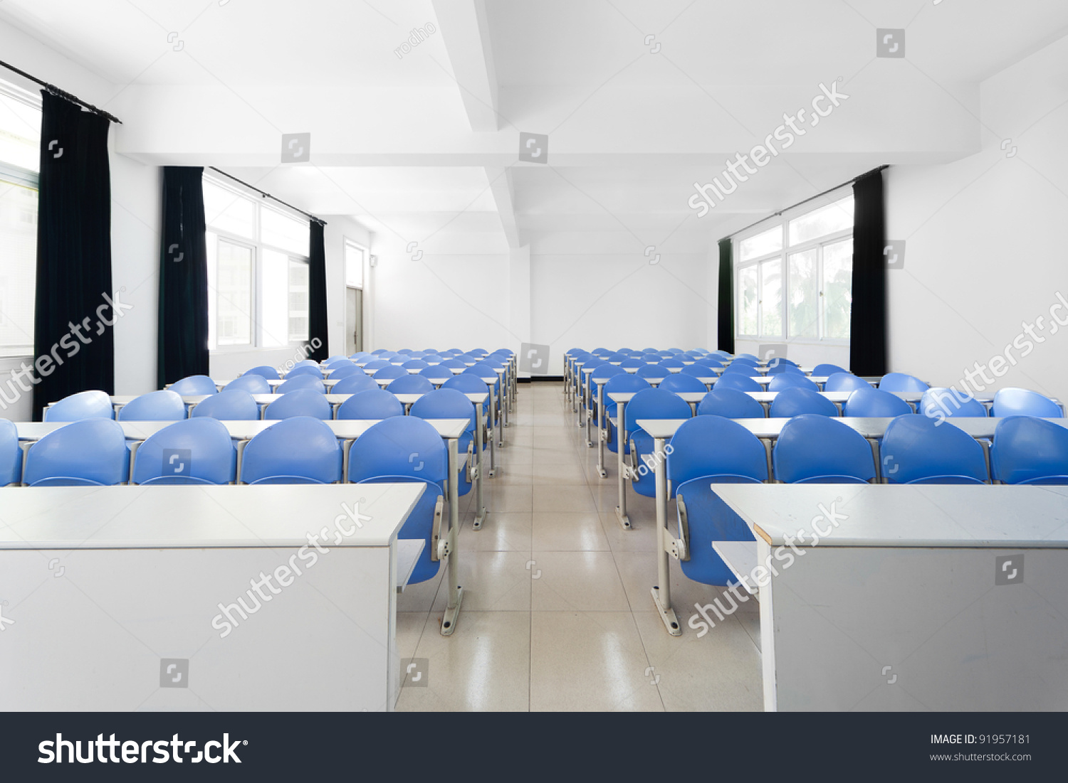 Modern College Classroom ~ Empty modern college classroom rows tables stock photo