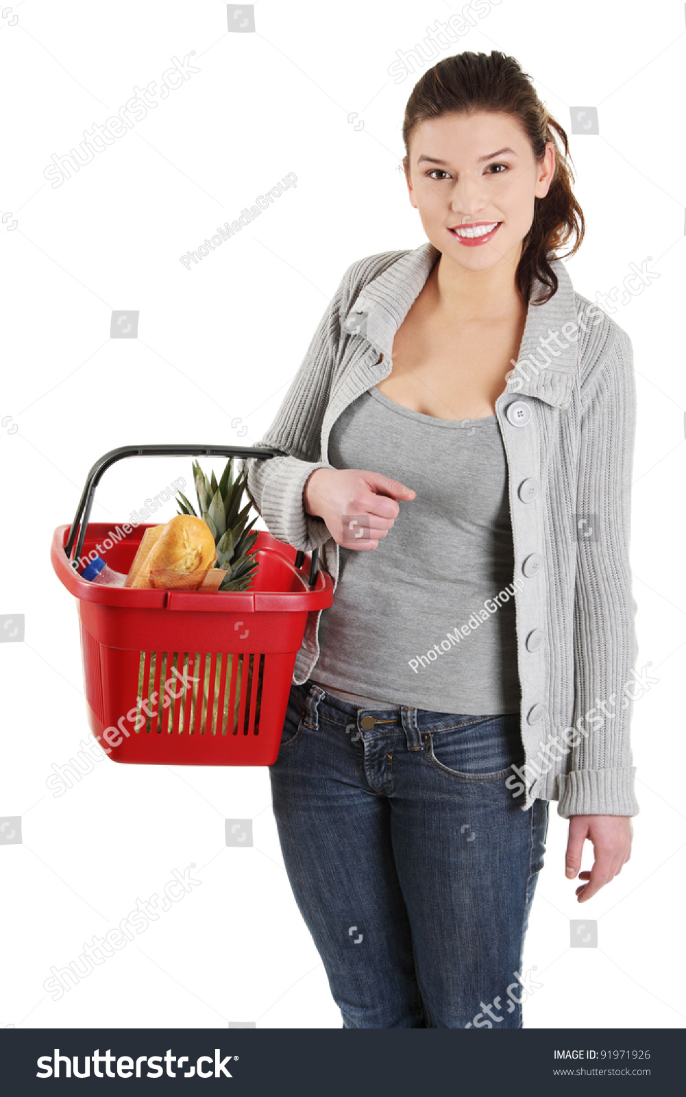 Woman posing with shopping bags isolated on white background full - Happy Woman With Shopping Basket Isolated On White Background