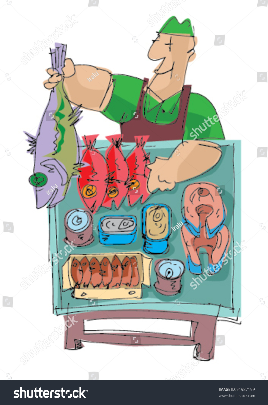 Fish Market Cartoon Stock Vector Illustration 91987199