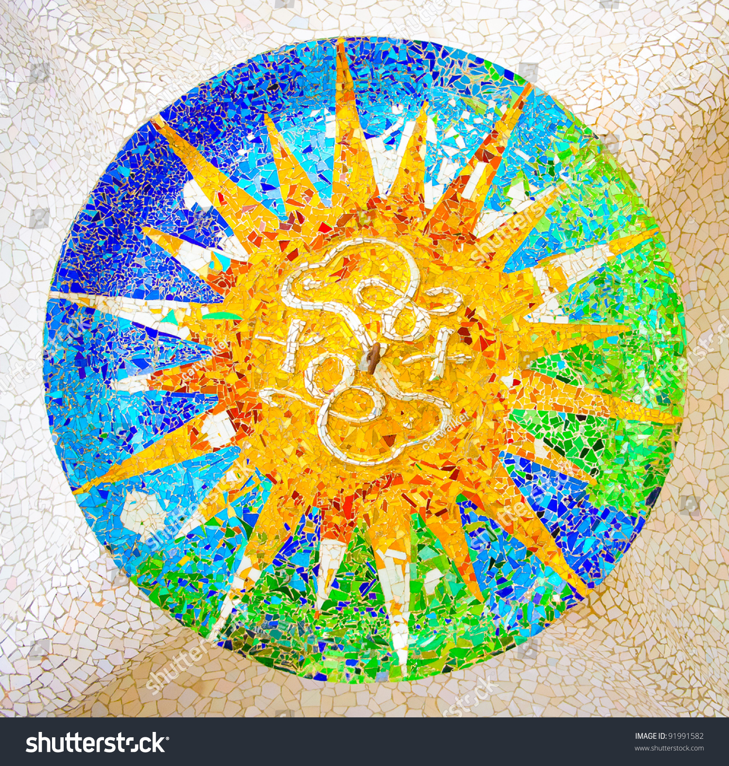 Ceiling Sun Mosaic Parc Guell Designed Stock Photo