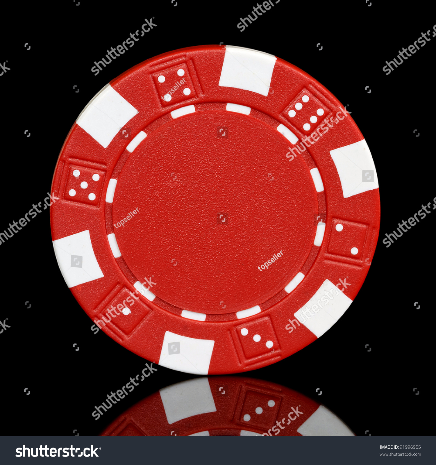 Red Poker Chip Over Black Background Stock Photo 91996955 ...