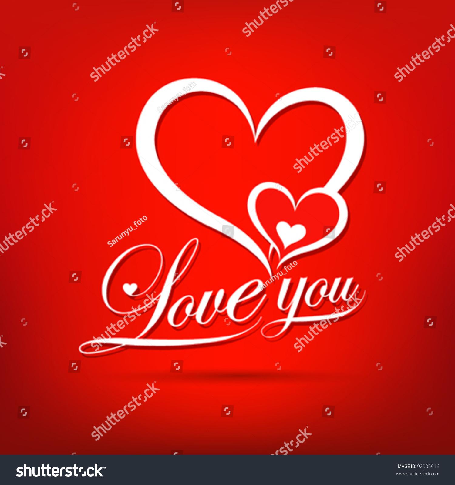 Love You Valentines Day Greeting Card Stock-Vektorgrafik 92005916 ...