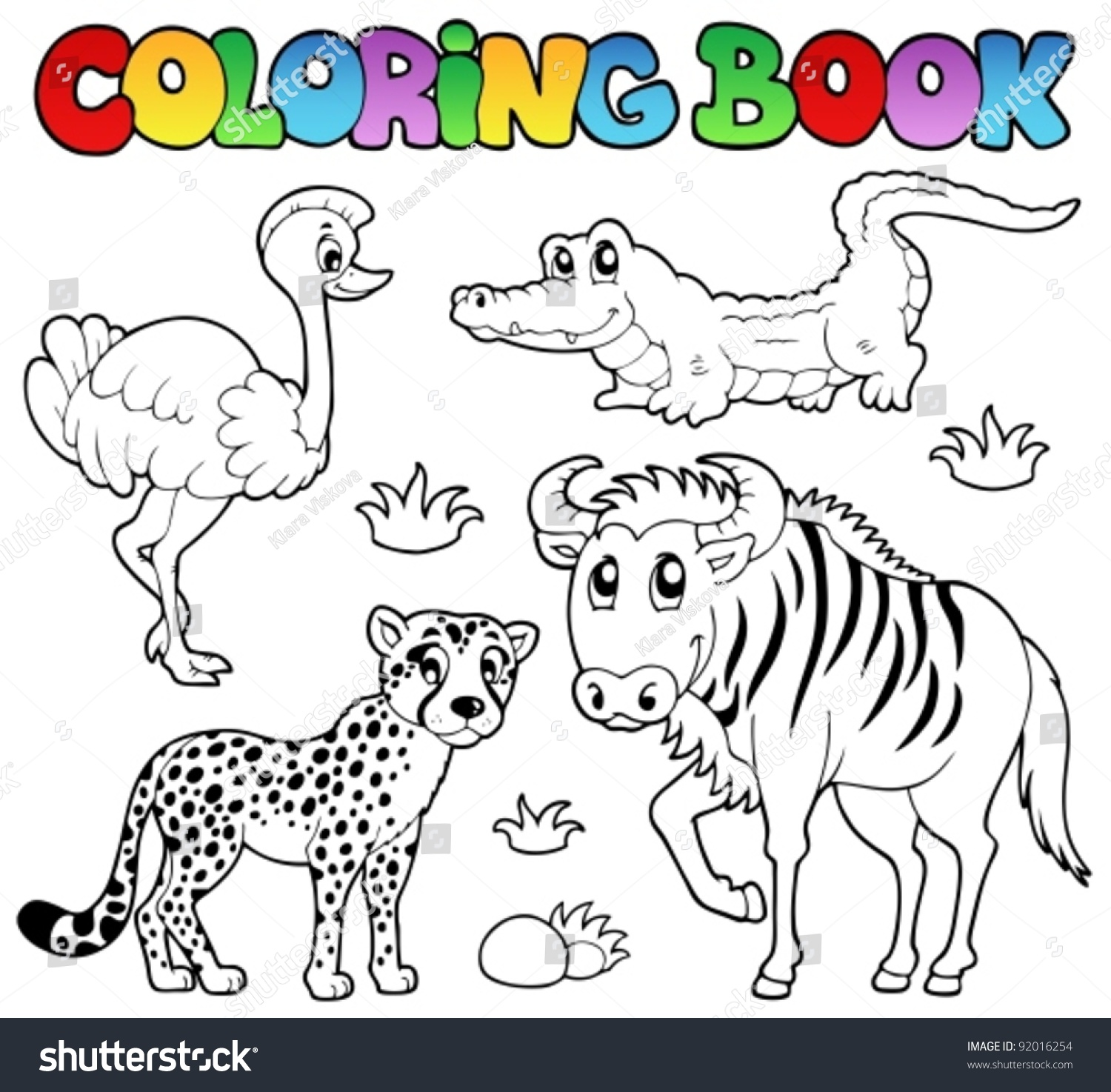 The zoology coloring book - Coloring Book Savannah Animals 2 Vector Illustration