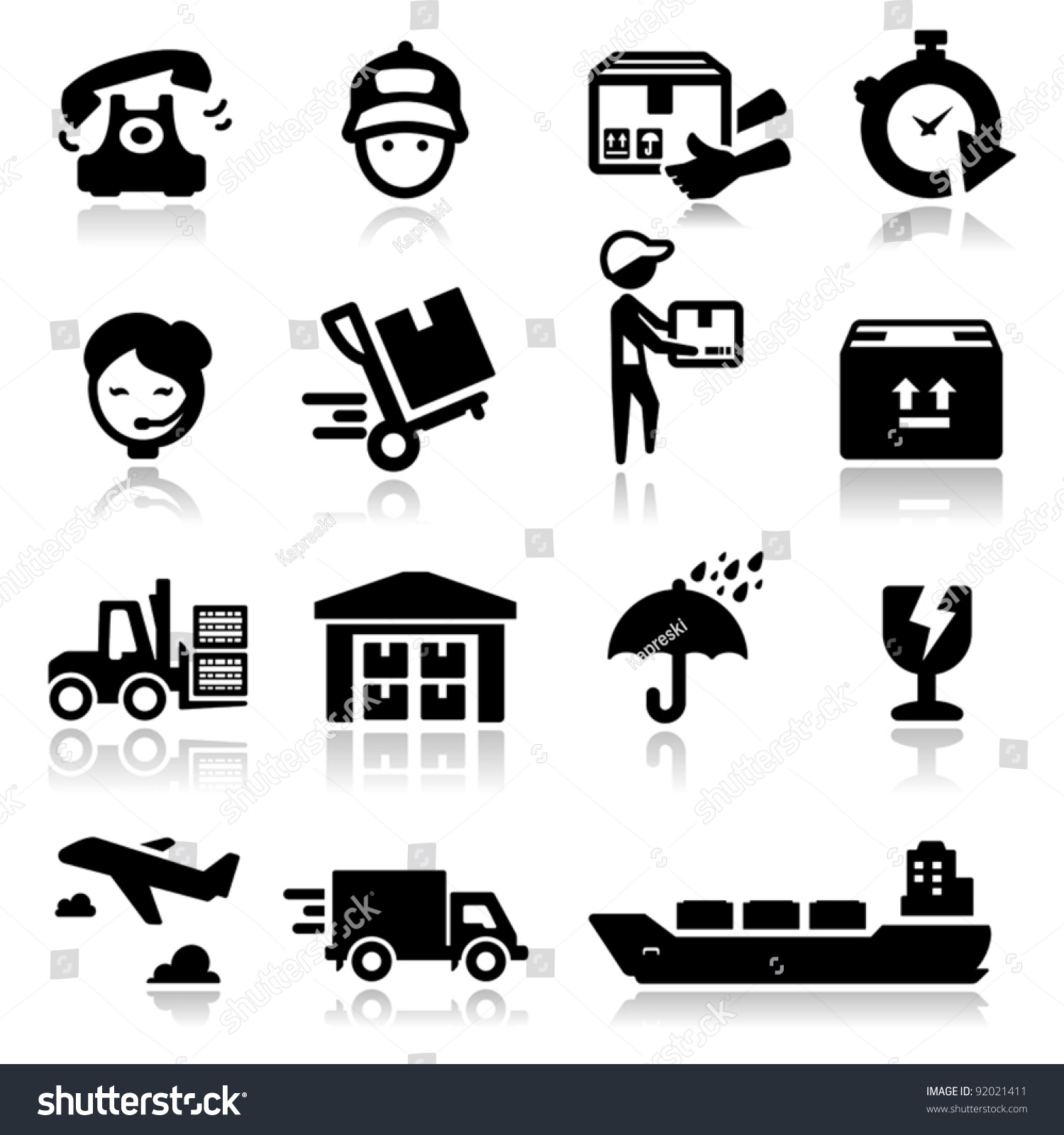 Shipping Delivery: Icons Set Shipping Delivery Stock Vector 92021411