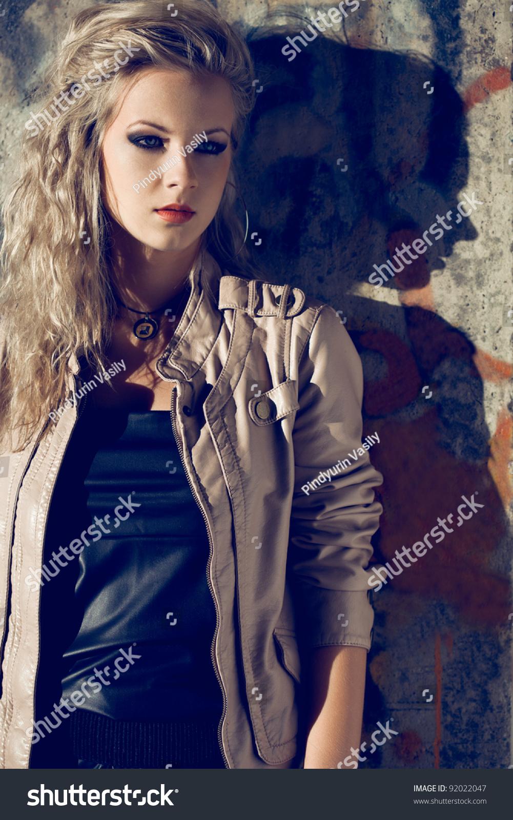 Beautiful Blond Woman Wearing Leather Jacket Stock Photo ...