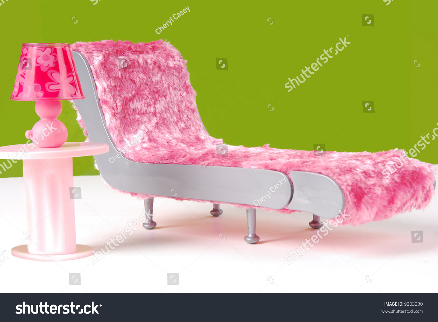 Fuzzy Lounge Chair Pink Lamp Green Stock Photo 9203230 - Shutterstock