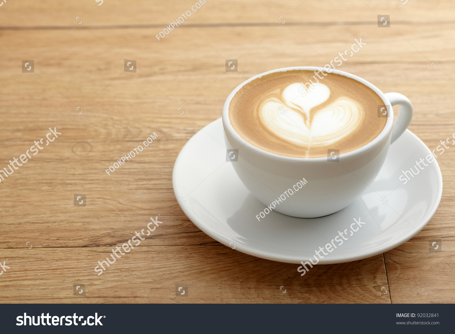 Cup Coffee Heart Pattern White Cup Stock Photo 92032841