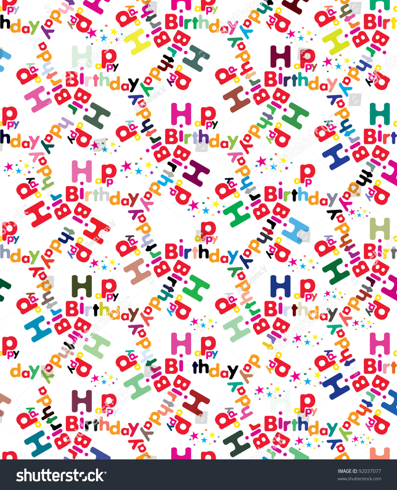 Happy Birthday Wrapping Paper Seamless Pattern In Vector
