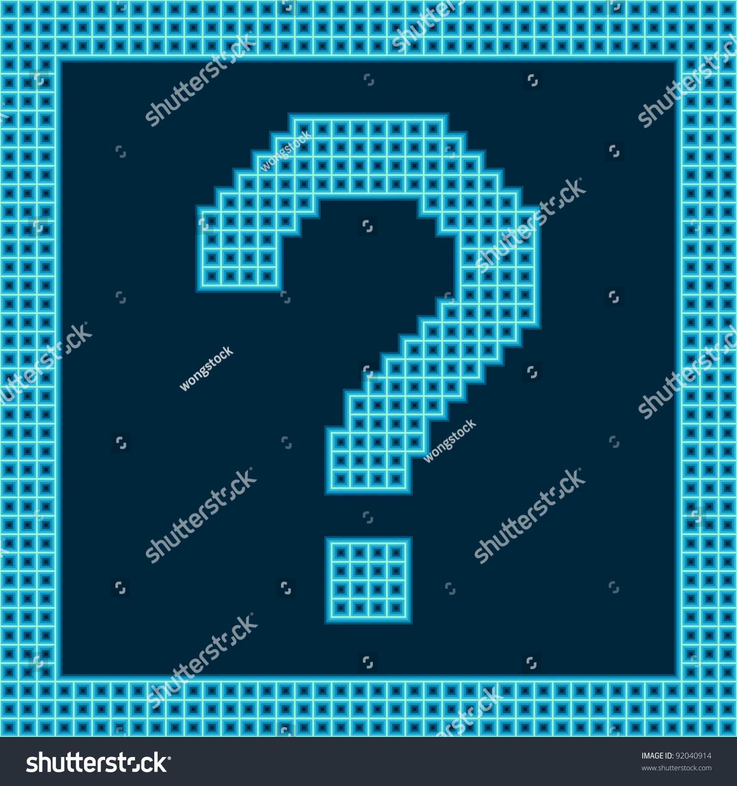 Pixel Question Mark Stock Vector Illustration 92040914