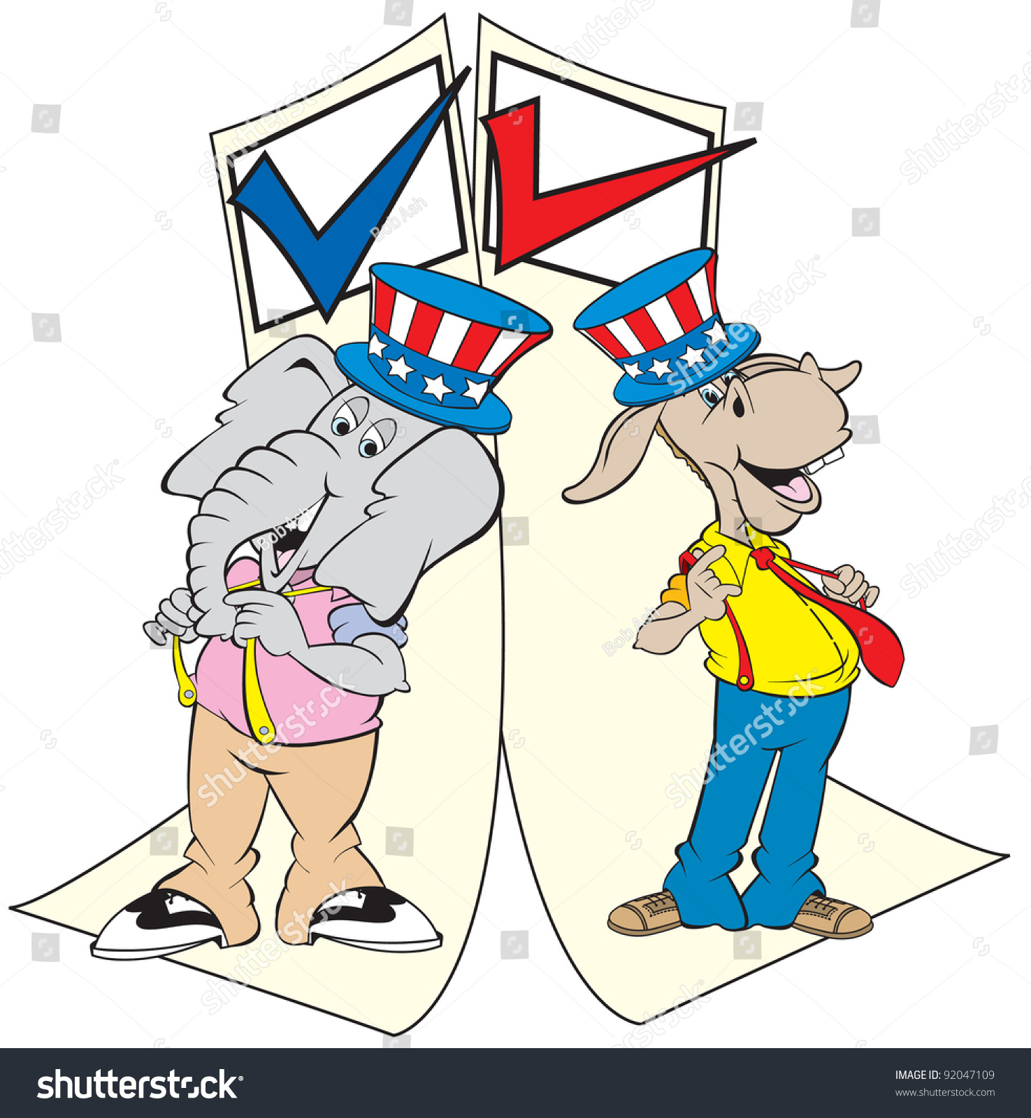 Cartoon Art Of The Republican Elephant And The Democratic Donkey ...