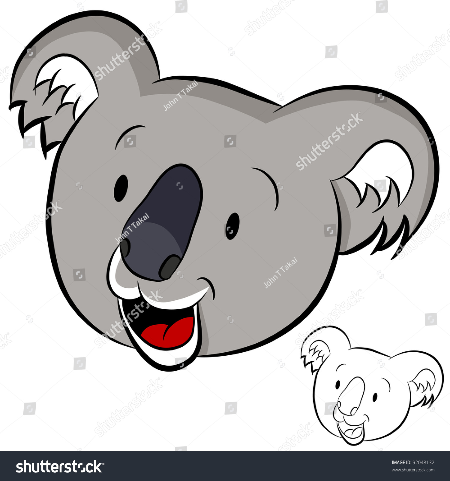 image cartoon koala face stock illustration 92048132 shutterstock