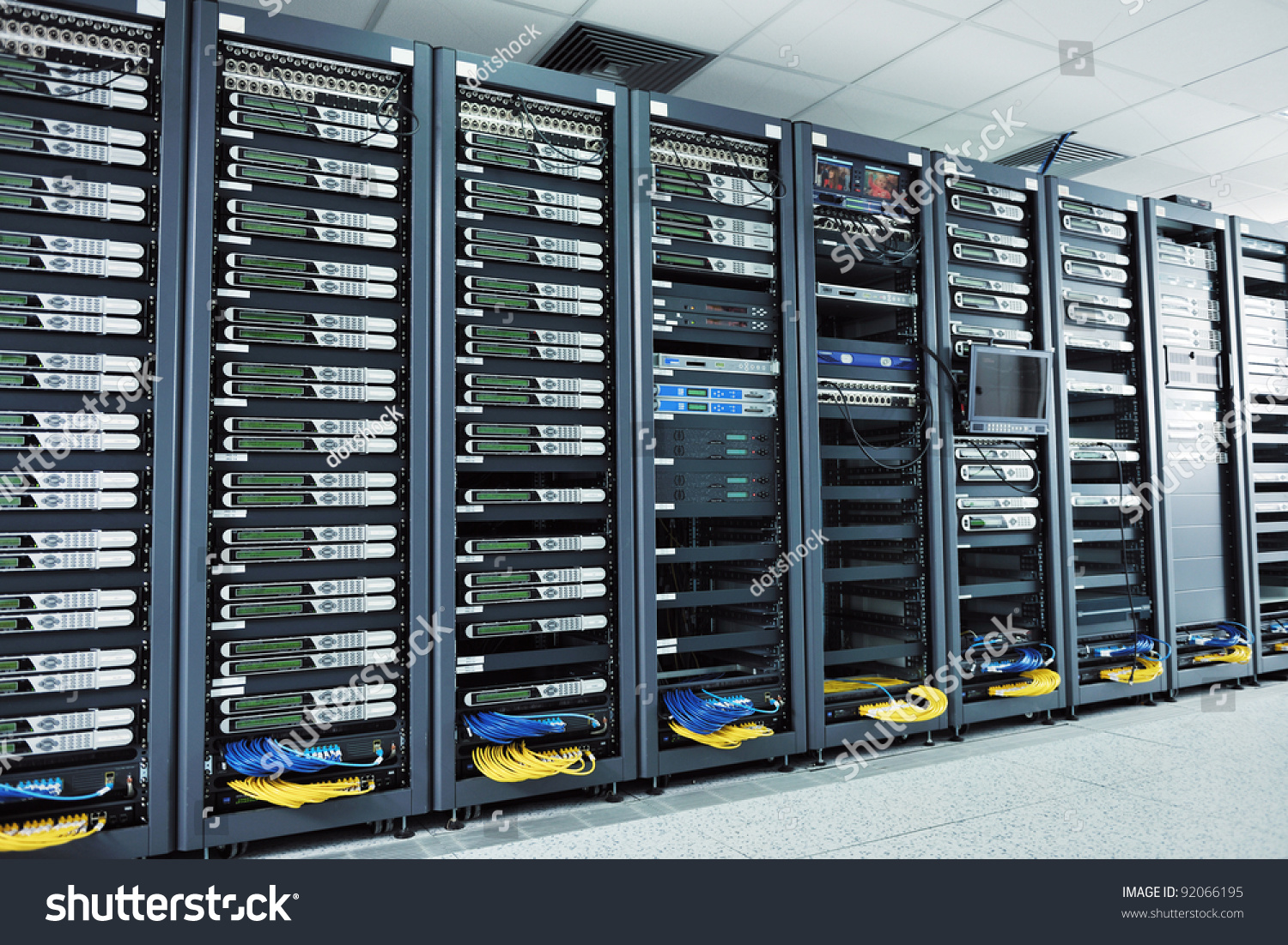 network server room with computers for digital tv ip communications and internet stock photo. Black Bedroom Furniture Sets. Home Design Ideas