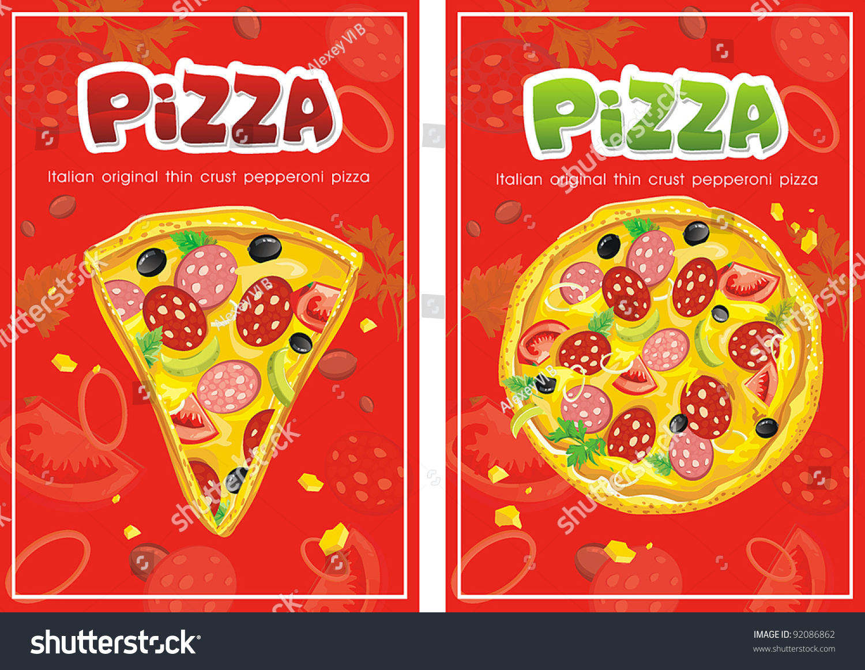 Template Menu Pizza Restaurant Business Card Stock Vector 92086862 ...