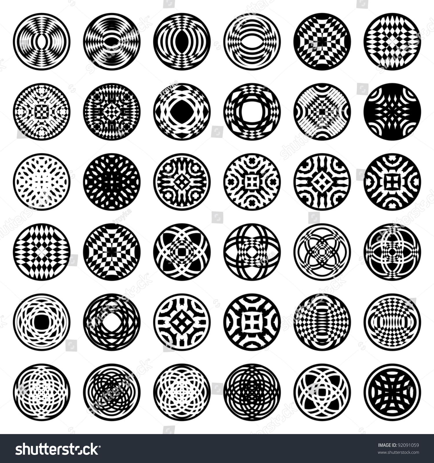 Worksheets Shape Design Patterns patterns in circle shape 36 design elements set 2 vector art save to a lightbox