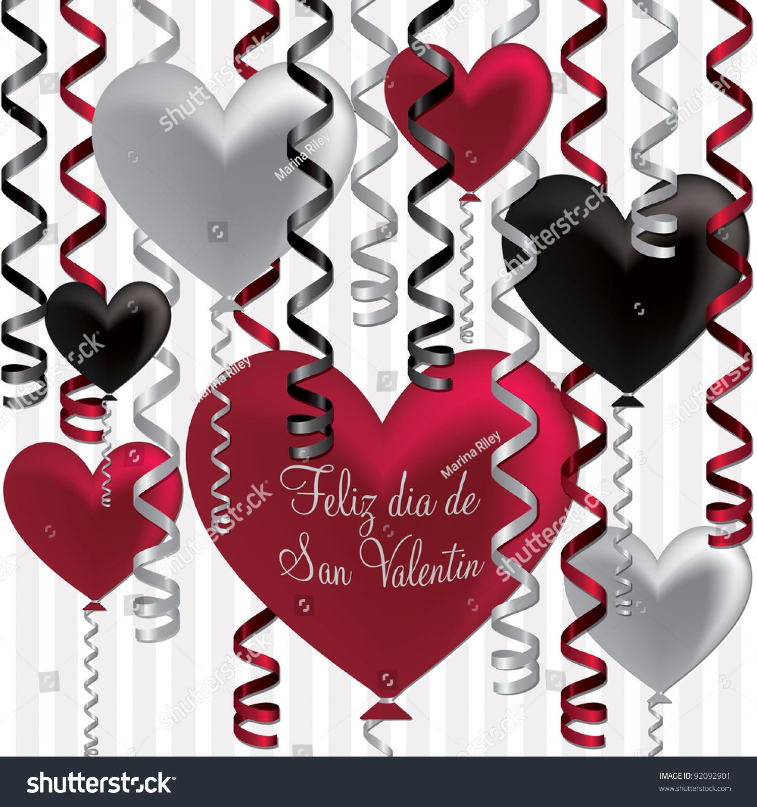 spanish happy valentines day balloon card stock vector 92092901