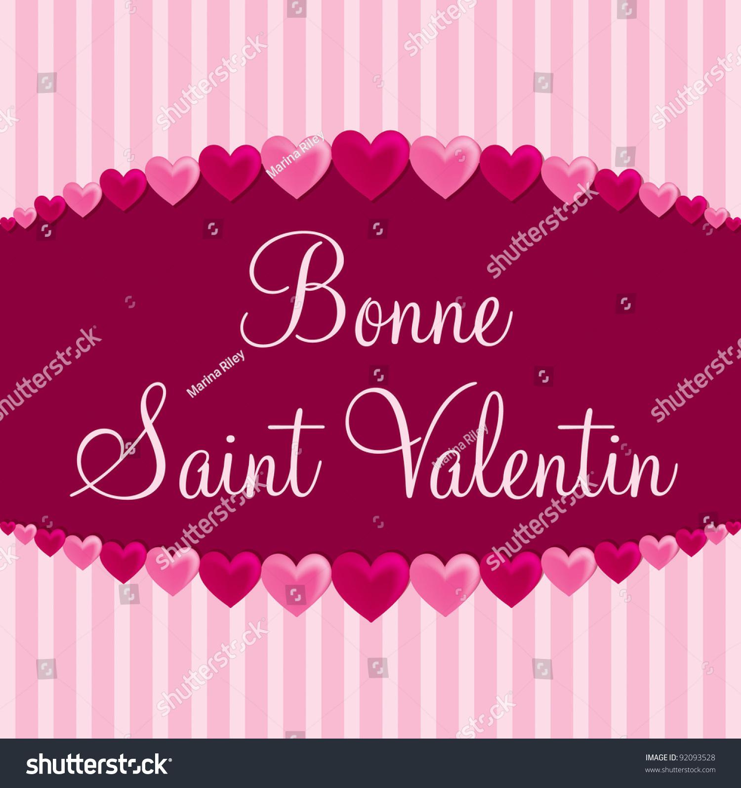 French U0027Happy Valentineu0027s Dayu0027 Heart Card In Vector ...