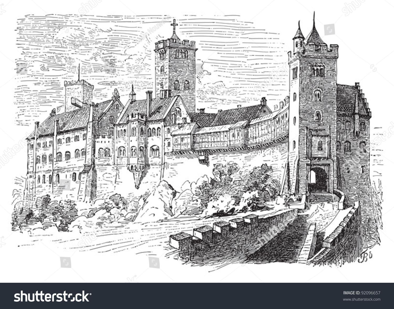 castle wartburg eisenach germany vintage illustration. Black Bedroom Furniture Sets. Home Design Ideas
