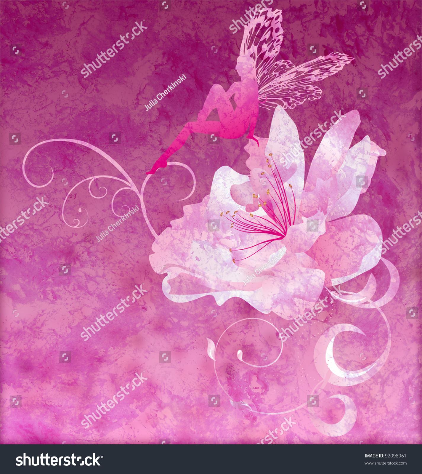 Pink Little Flower Fairy On Dark Stock Illustration 92098961
