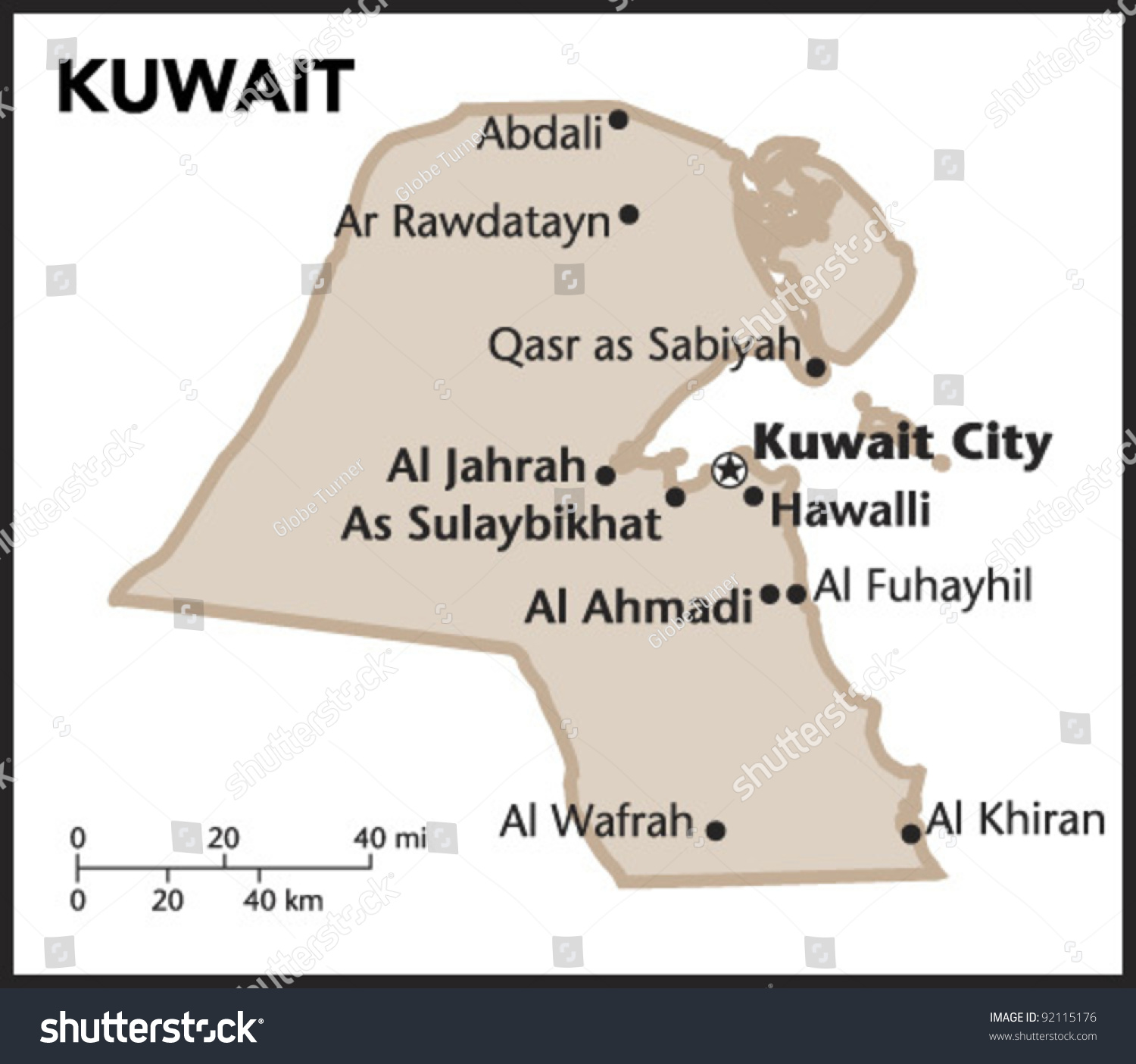 Kuwait Country Map Stock Vector (Royalty Free) 92115176