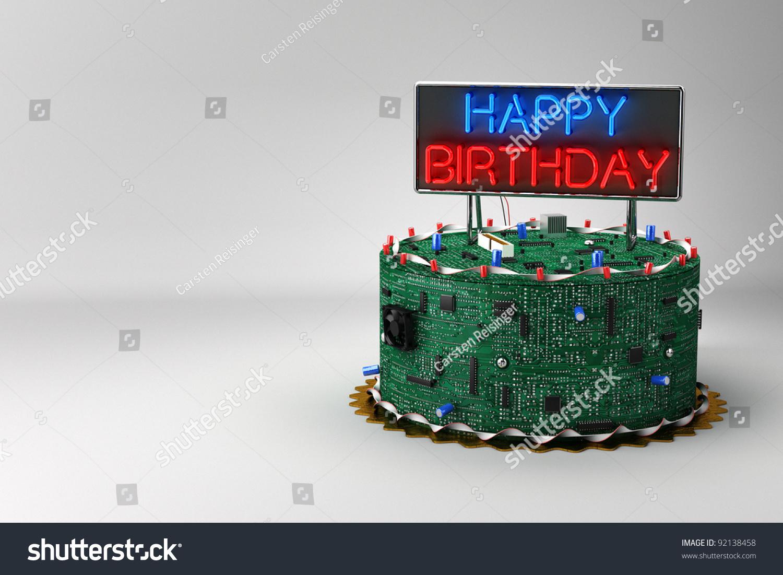 Fun Birthday Cake Geeks Electronic Components Stock