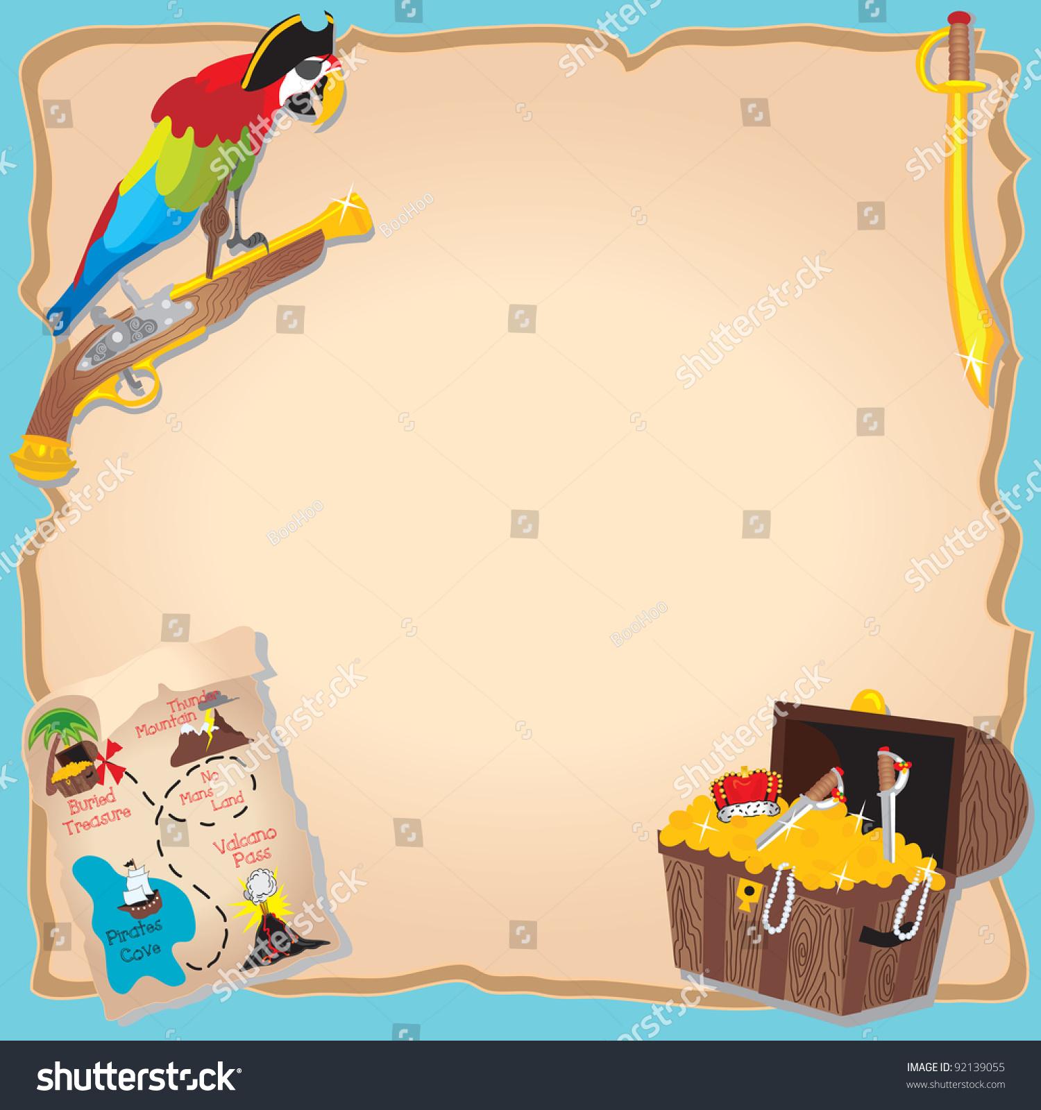 Pirate Birthday Party Treasure Hunt Invitation Stock ...