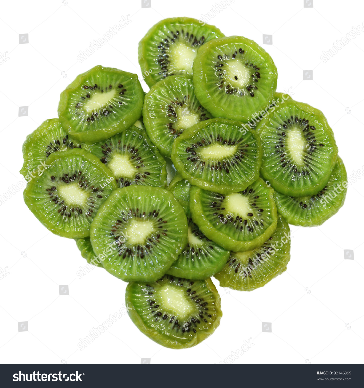 Dehydrated kiwi slices with sugar isolated on white for Vietnamese fruit cake #92146999