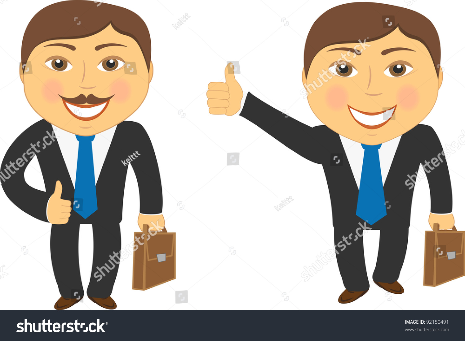 Two Cartoon Successful Businessman With Portfolio And Showing Thumb Up ...
