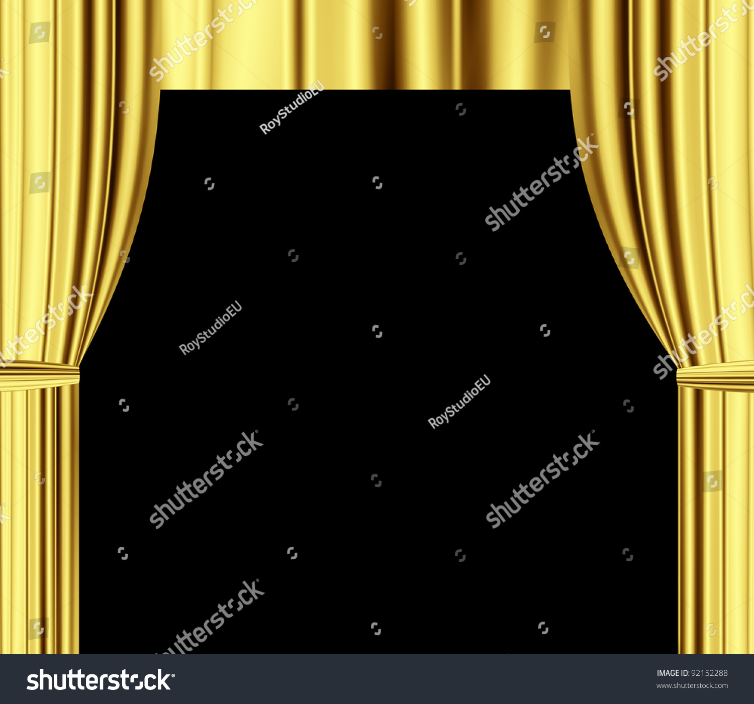 Black theatre curtain - Gold Theater Draperies Curtain With Black Empty Space For Text
