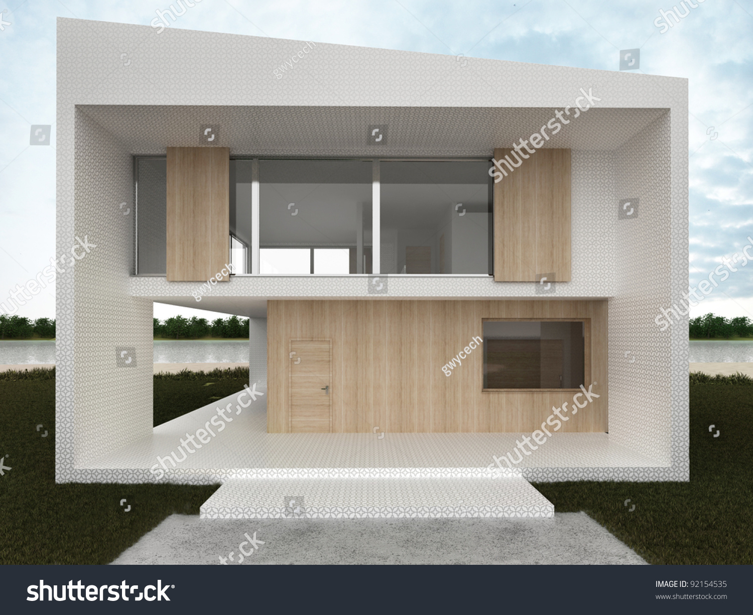 Modern house design computer generated visualization mosaic and wood facade in european style of
