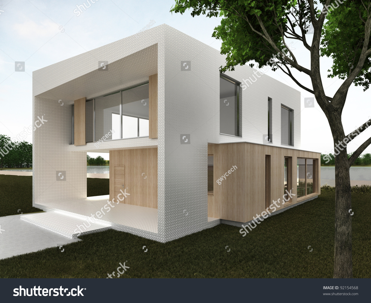 Modern house design front yard computer generated visualization mosaic and wood facade