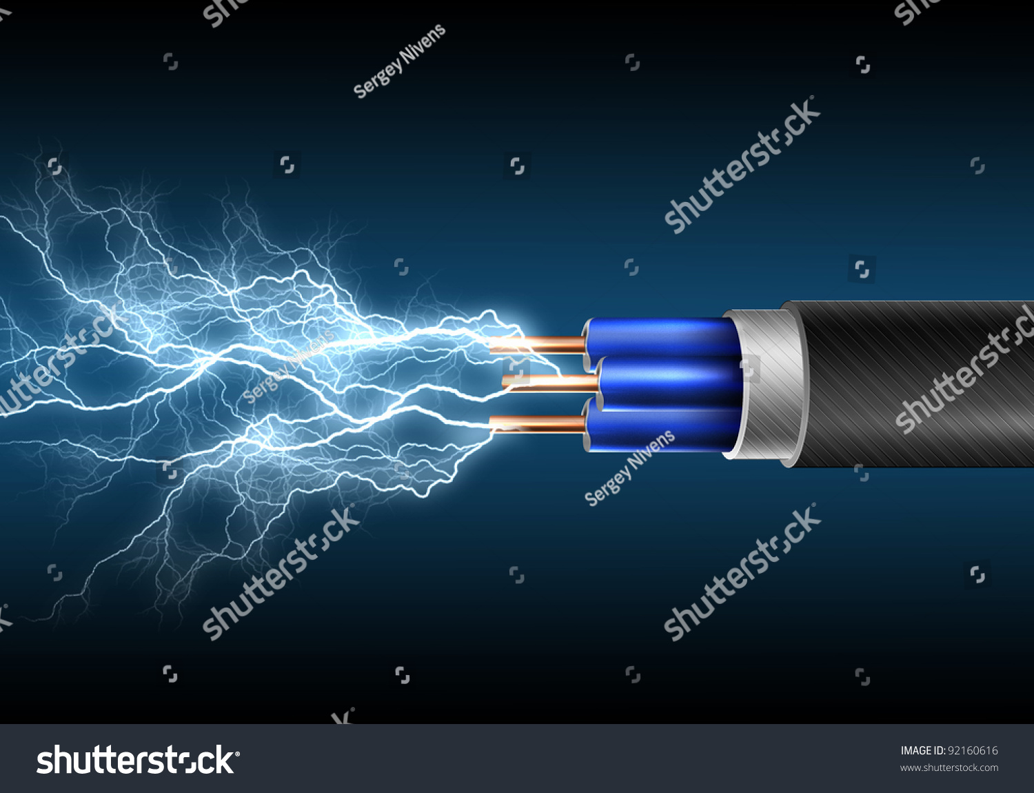 Electric Cord Electricity Sparks Symbol Power Stock Illustration ...