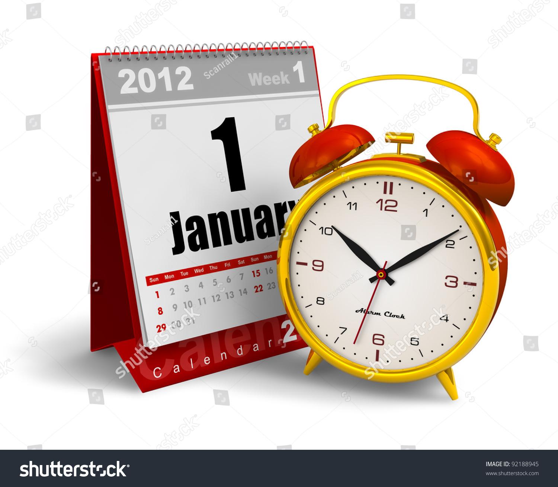 Calendar Clock Wallpaper : Desktop calendar and vintage analog alarm clock isolated