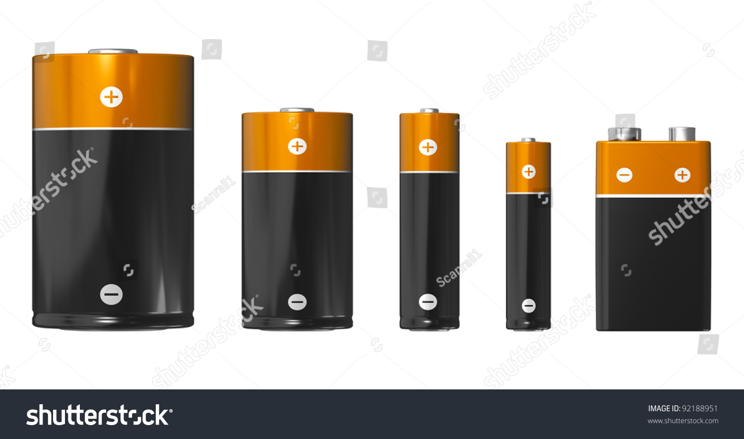 Set Different Sizes Batteries From Left Stock Illustration
