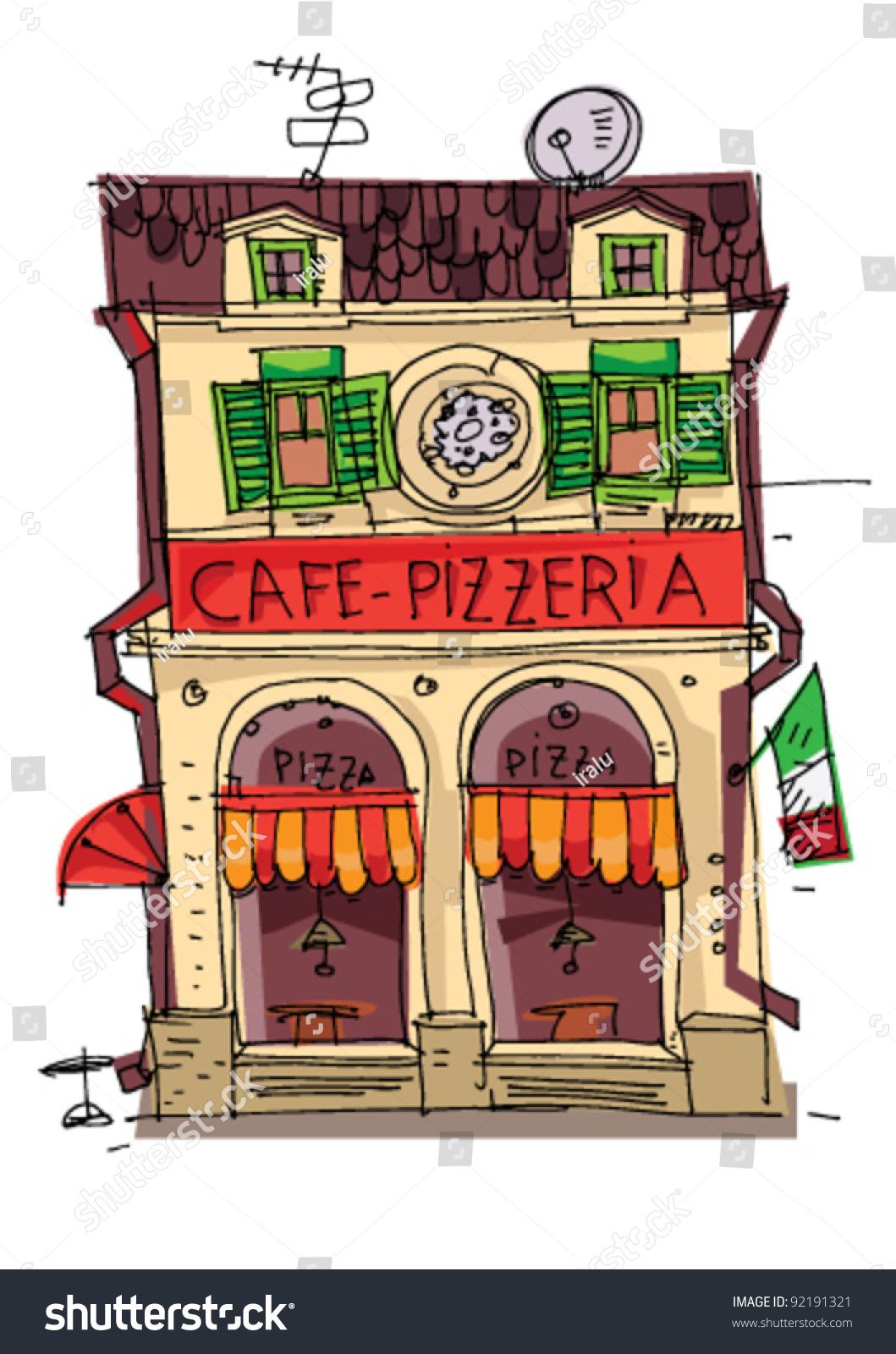 Italian Restaurant Logo With Flag: Pizzeria Cartoon Stock Vector 92191321