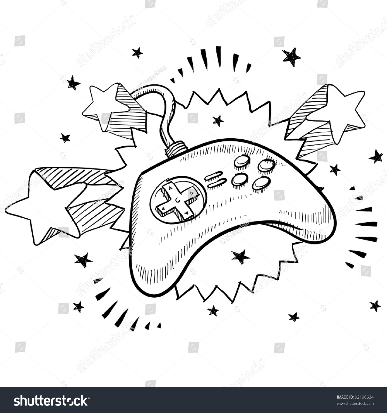 doodle style video game controller illustration stock vector 1970 Popular Games doodle style video game controller illustration in vector format with retro 1970s pop background