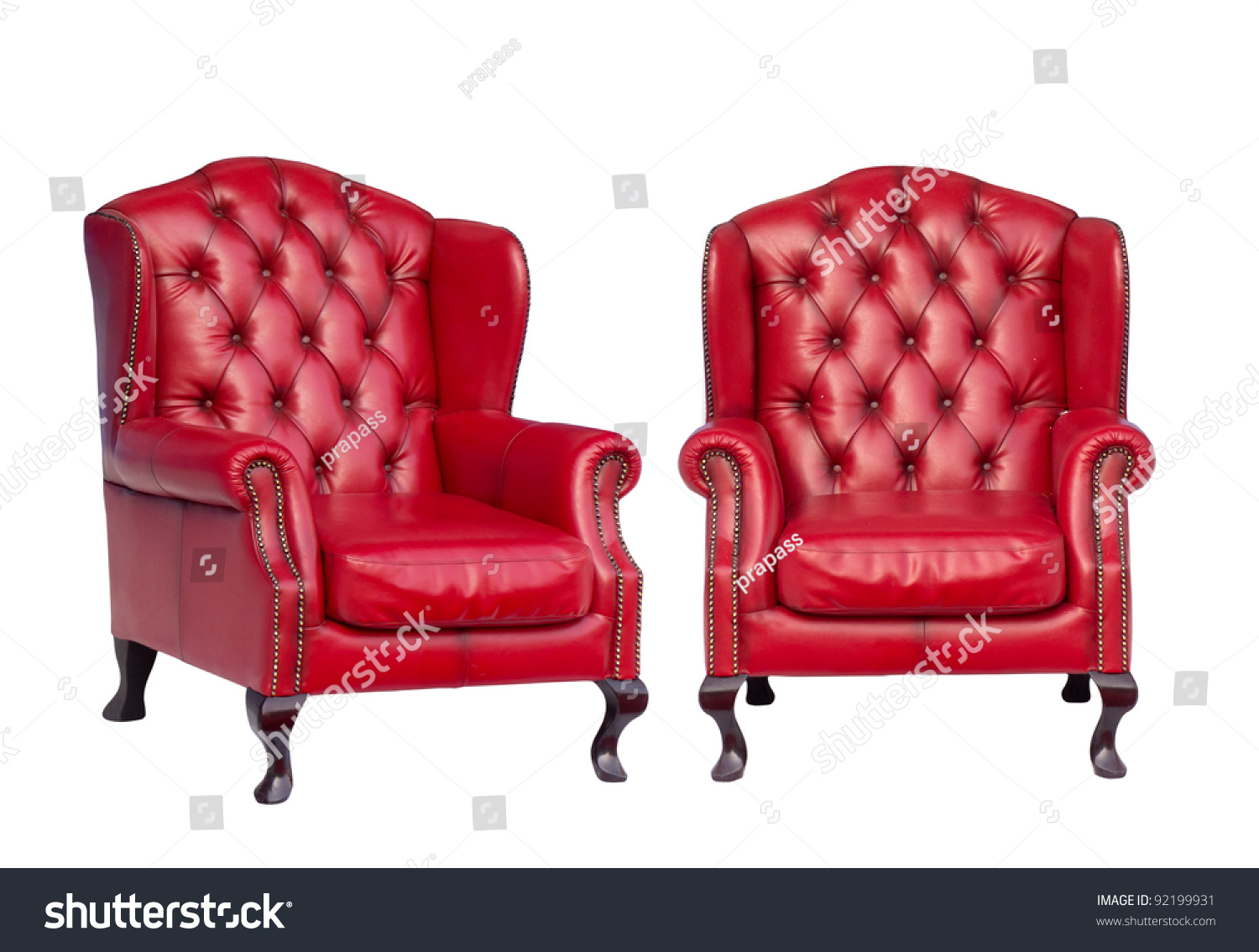 Luxury Vintage Red Armchair On White Stock Photo 92199931 ...