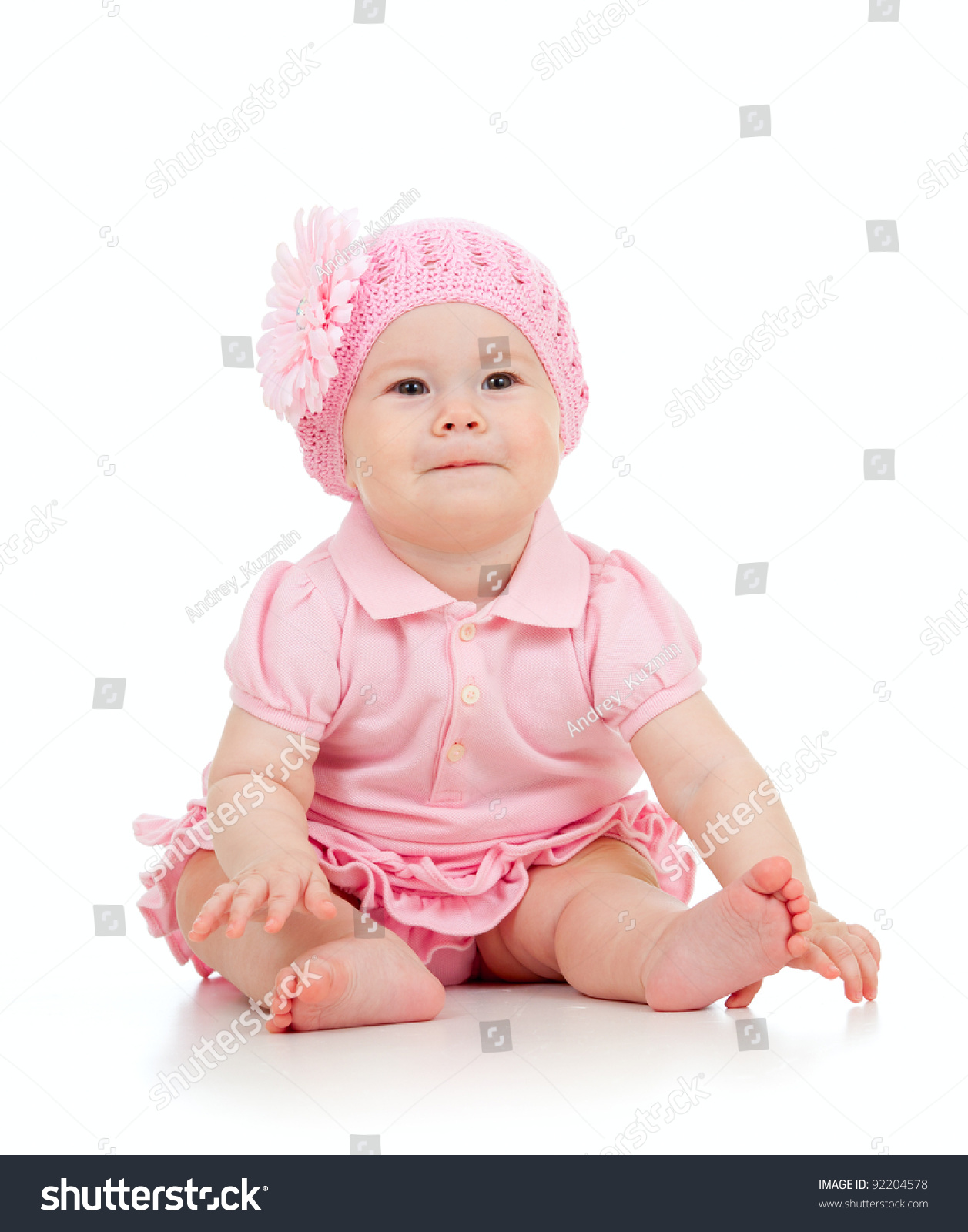 little cute babygirl pink dress isolated stock photo (100% legal