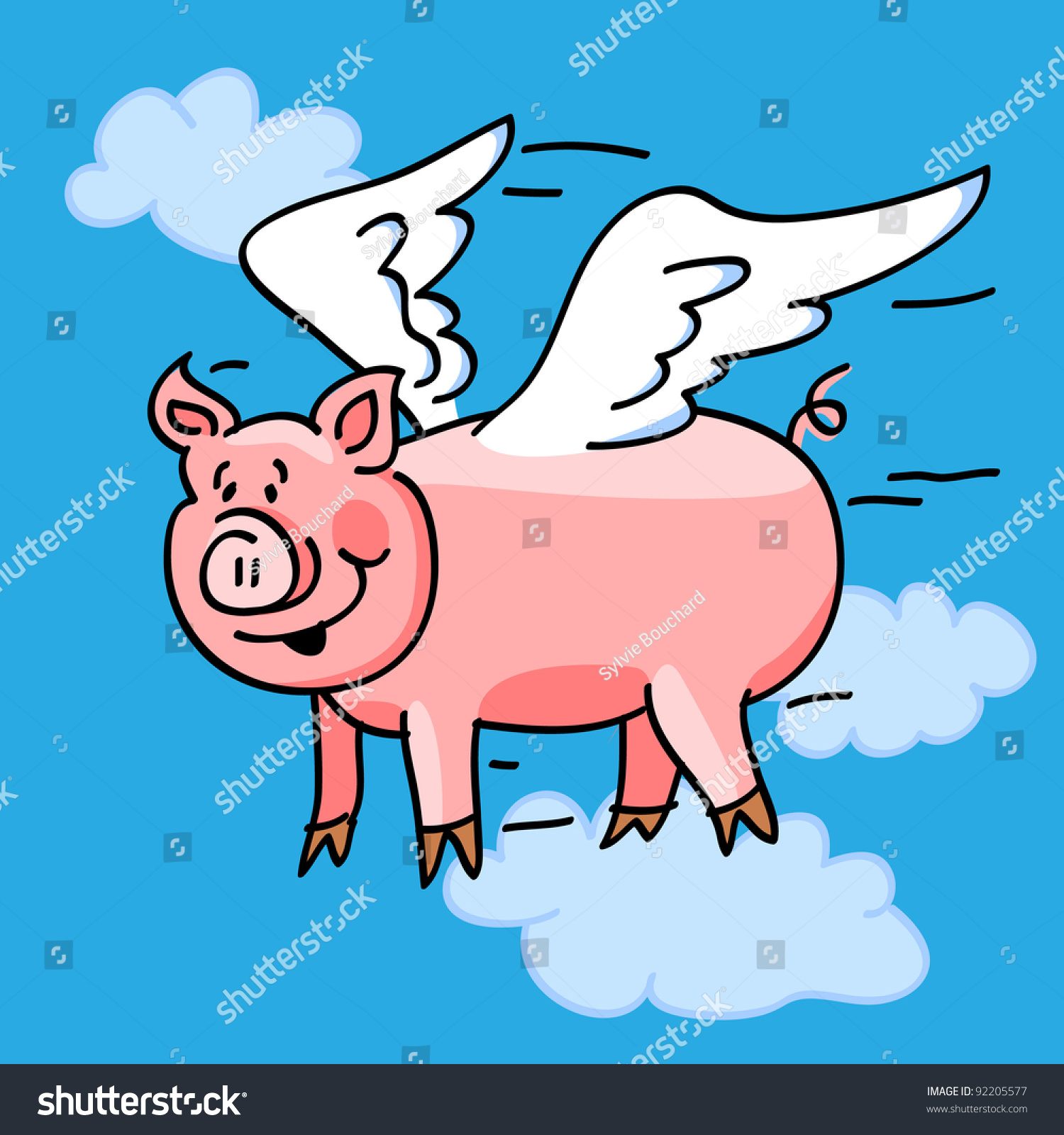 """Fun Cartoon Of A Flying Pig With Wings To Represent The """"When Pigs Fly ..."""