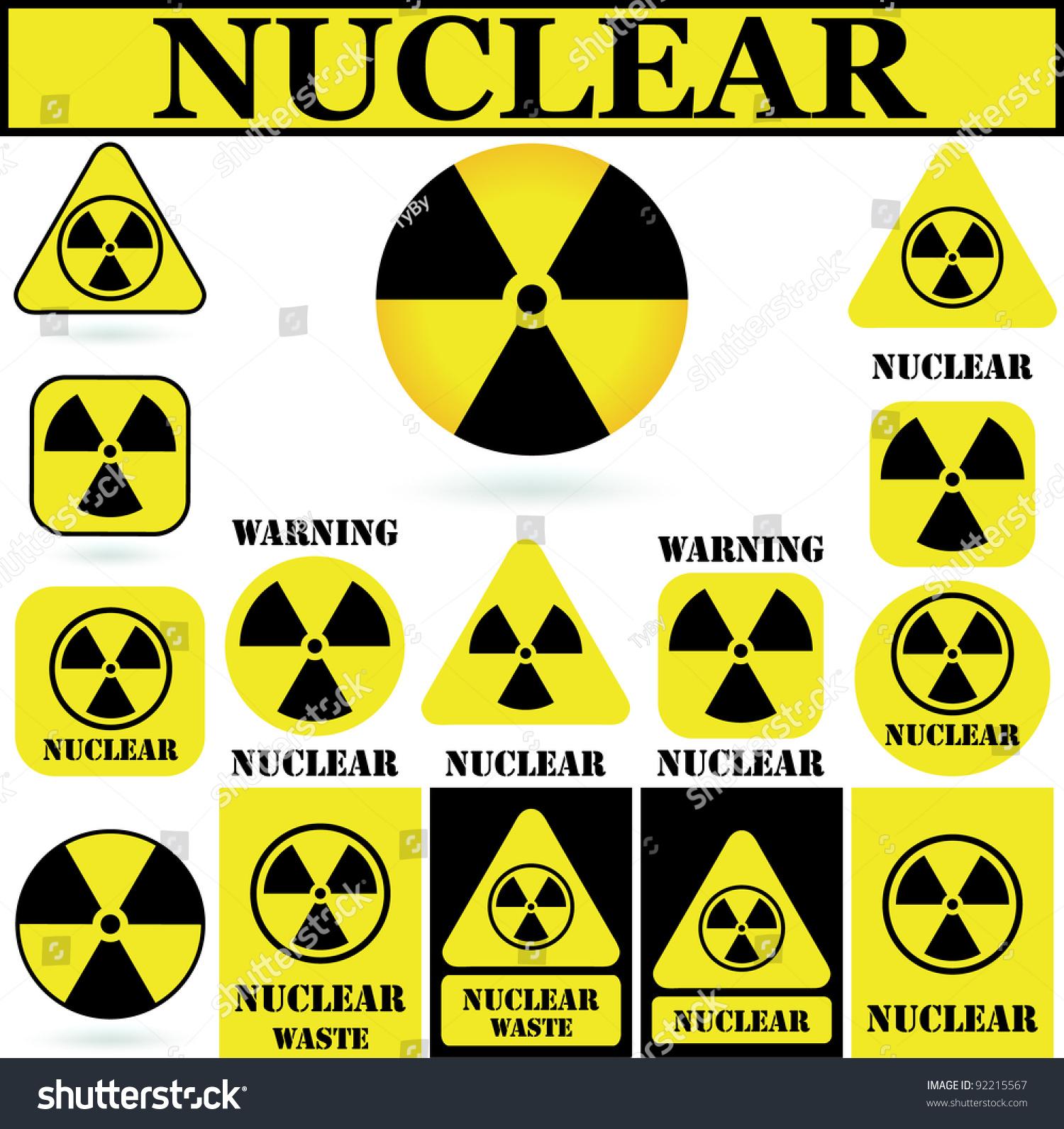 15 Nuclear Hazard Symbol Set Stock Illustration 92215567 Shutterstock