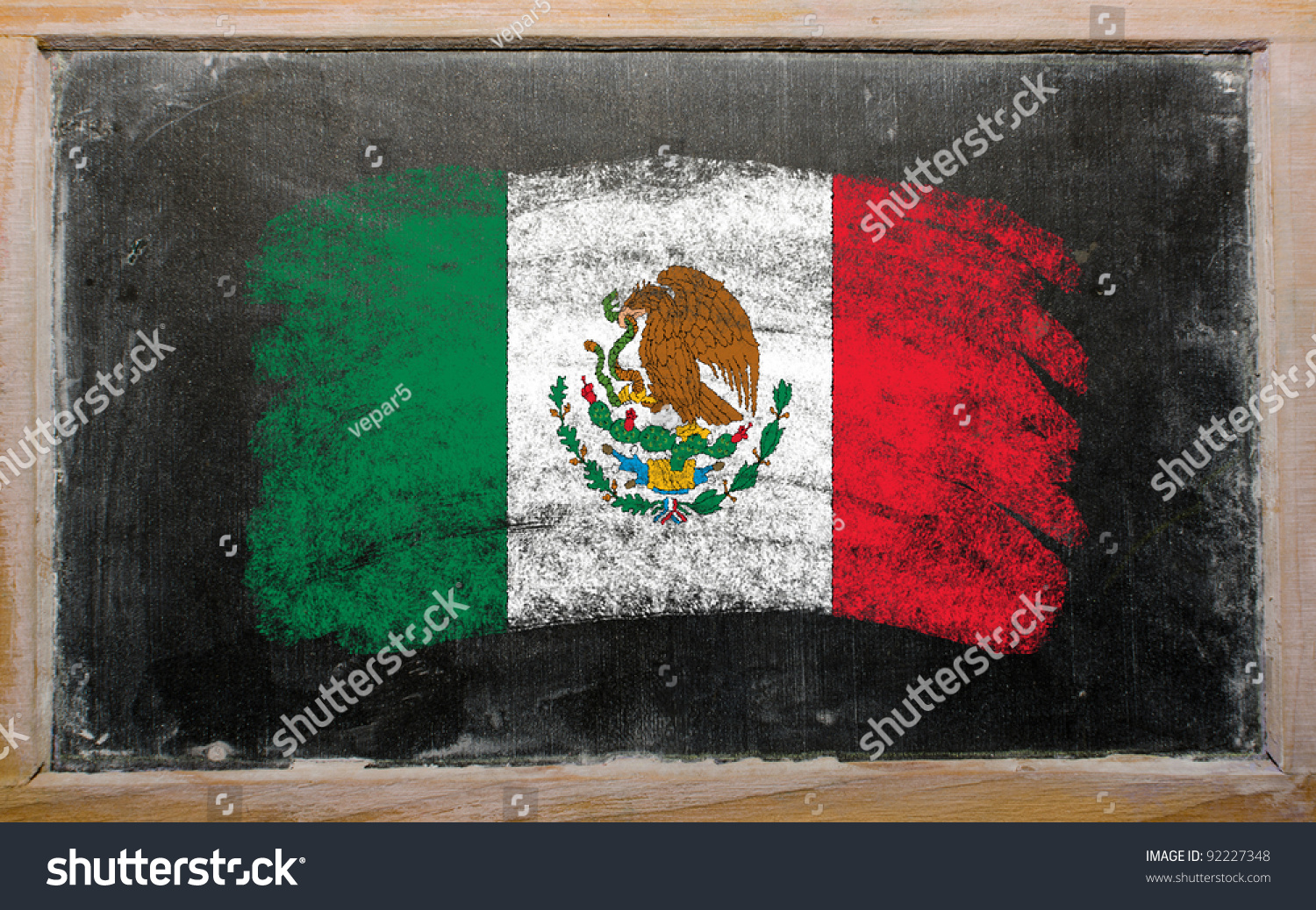chalky mexican flag painted color chalk stock photo 92227348