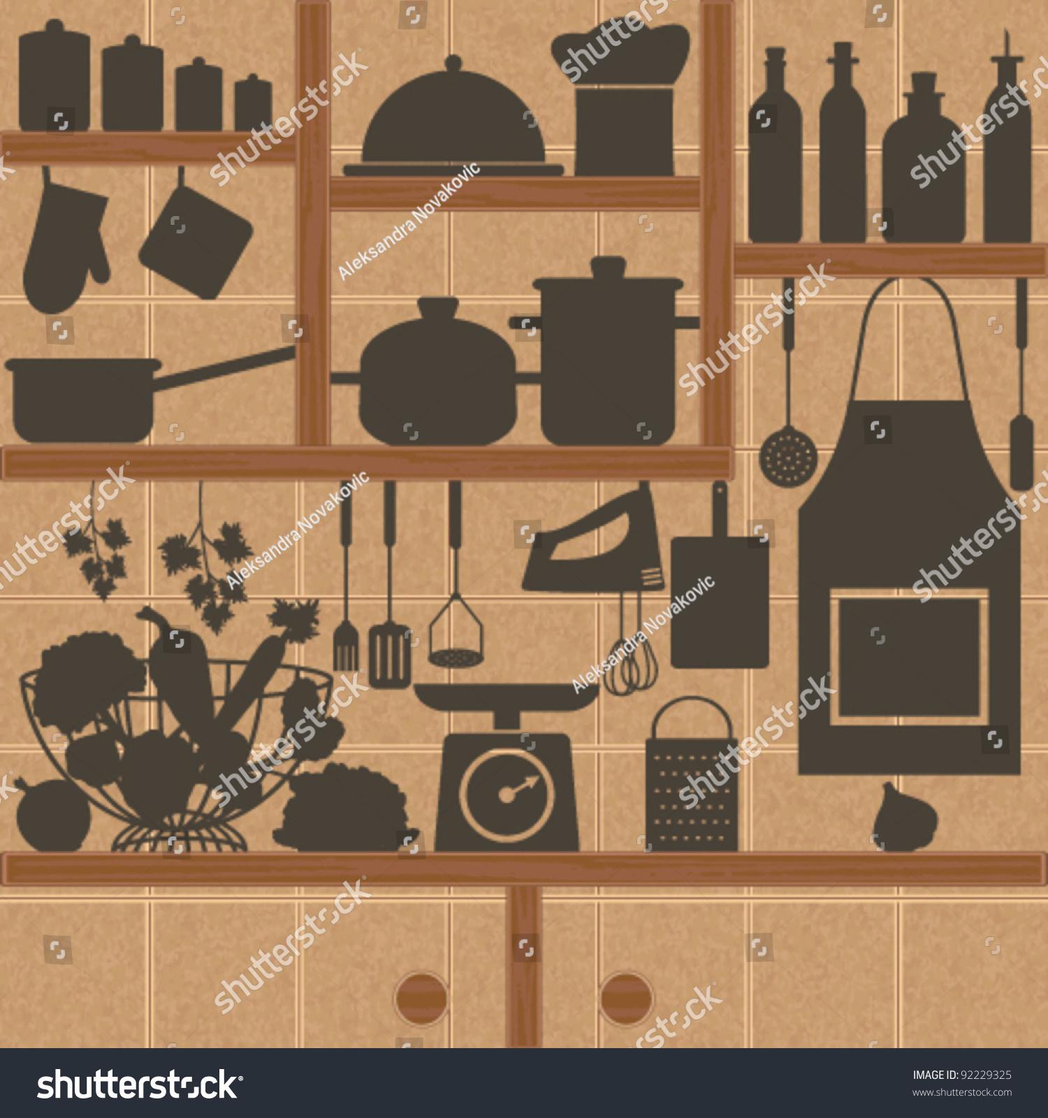 Restaurant Kitchen Tile Restaurant Kitchen Related Symbols On Tiled Stock Vector 92229325