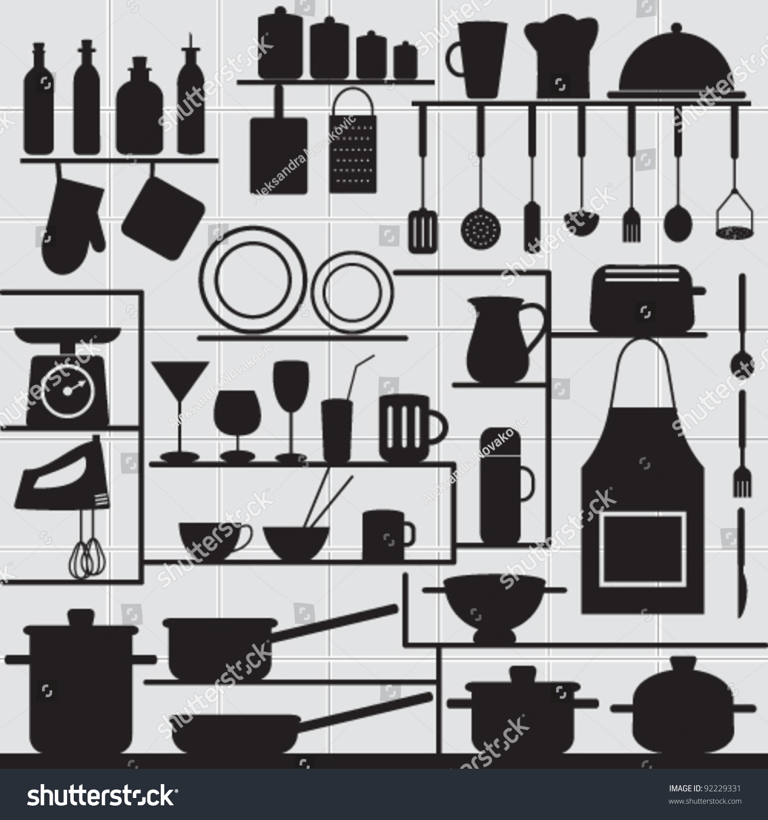 Restaurant Kitchen Background restaurant kitchen related symbols on tiled stock vector 92229331